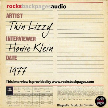 Testi Thin Lizzy Interviewed by Howie Klein