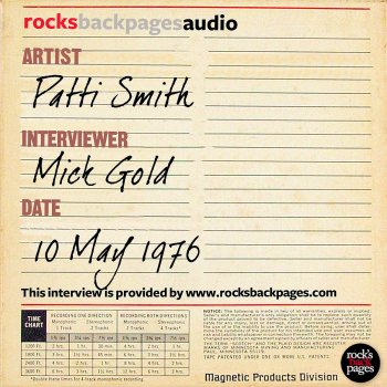 Testi Patti Smith Interviewed By Mick Gold