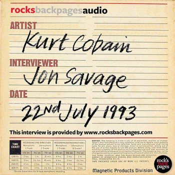 Testi Kurt Cobain Interviewed By Jon Savage