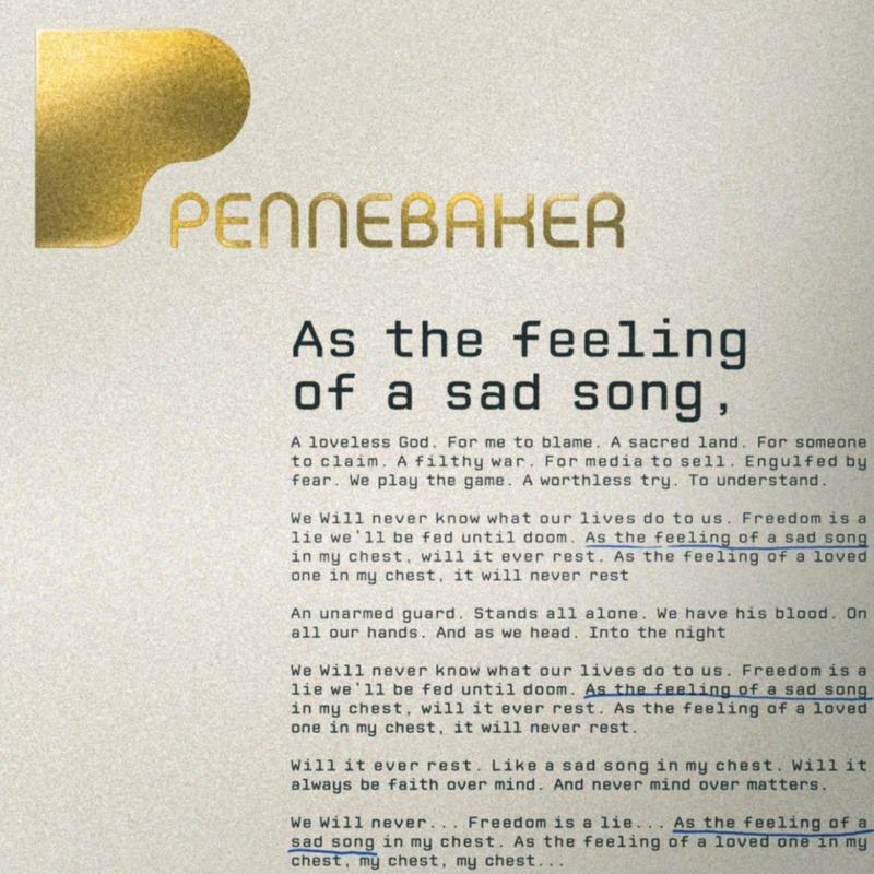 Pennebaker As The Feeling Of A Sad Song Lyrics Musixmatch